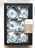 Edel dekorierte Christbaumkugeln aus Glas, 6-teilig,blau-glanz