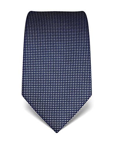 Vincenzo boretti cravatta elegante classica da uomo, 8 cm x 15 cm, di pura seta di alta qualità, idrorepellente e antisporco, motivo a quadri blu scuro