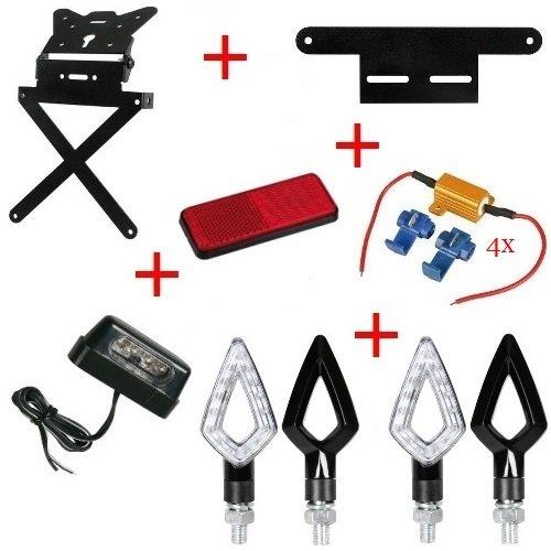 Kit für Motorrad Kennzeichenhalter + 4+ Blinker Kennzeichenbeleuchtung + Reflektor + Halterung + 4Widerstände Lampa Kawasaki ZZR 12002002–2005