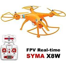 MODELTRONIC Drone grande SYMA X8W Naranja FPV cámara WIFI COMPLETO