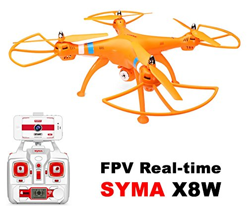 Drone drone big SYMA X8W Orange FPV camera HD 2MP WIFI COMPLETE with battery LIPO 6 axes / Drone with camera WIFI / Send the video image in real time to your mobile / easy to find spare parts