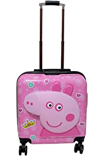 SWARN Stylish Square Cabin Luggage Peppa Pig Trolley Suitcase Bag for Kid's  18 inch    Pink