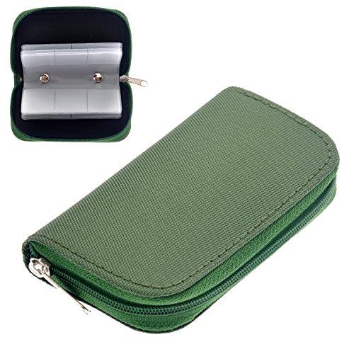 WINOMO Astuccio porta schede di memoria 22 slot SD SDHC MMC CF Micro SD Memory Card titolare Pouch caso con zip deposito borsa Protector (verde)