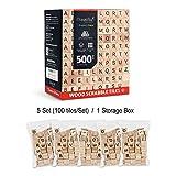Magicfly Scrabble Fliesen, 500 Stück Scrabble Buchstaben zum Spielen Buchstaben Scrabblesteine aus Holz Scrabble Fliesen mit Zahlenwerten zum Basteln
