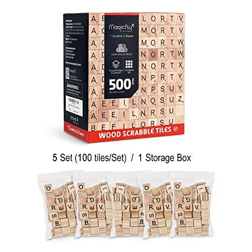 Magicfly Scrabble Fliesen, 500 Stück Scrabble Buchstaben zum Spielen Buchstaben Scrabblesteine aus Holz Scrabble Fliesen mit Zahlenwerten zum Basteln (Holz Fliesen)
