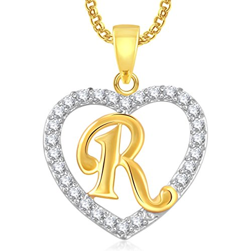 Valentine Gifts Amaal Heart 'R' Alphabet Pendant For Girls & Women With Chain PS0409