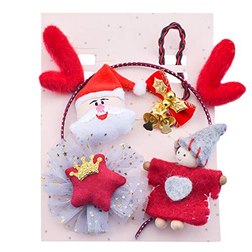 (TPulling Bunte Weihnachten Deko Schneemann Rentier Kinder Säuglingsbabys Weihnachten Weihnachtsmann Glocke Hirsch Haarnadel Set Haarspangen)