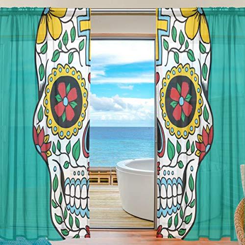 TIZORAX Bunte mexikanische Vorhänge mit Totenkopf-Motiv, aus Polyleinen-Voile, Gardinenstange für Wohnzimmer, Schlafzimmer, 139,7 cm B x 198 cm L, 2 Paneele, Polyester, Multi, 55
