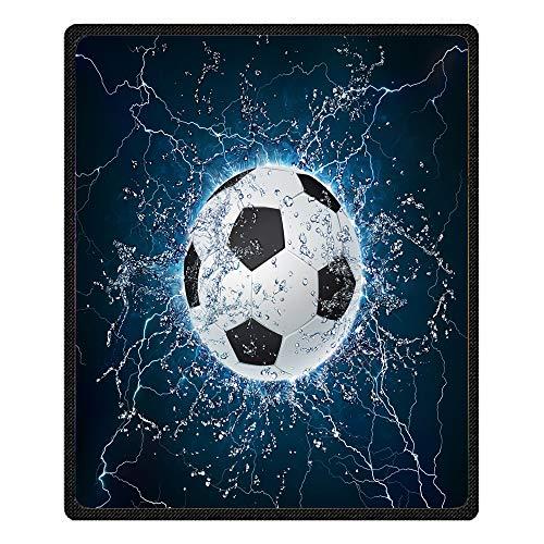 Sticker Superb Kuscheldecke 3D Schädel Basketball Fußball Tukan Muster Sofa Decke Microfaser Decke Tagesdecke für Bett (Fußball, 185X140 cm)