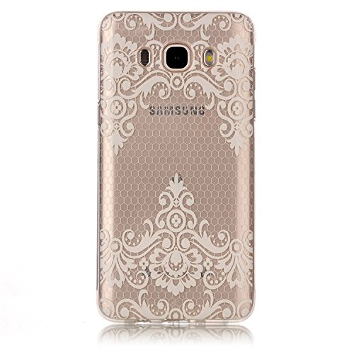 Samsung Galaxy J5 (2016 Version) Coque Gel TPU Silicone Etui Intégrale Transparent Case pour Samsung Galaxy J5 (2016 Version) Housse Protection Full Silicone Souple Case, Vandot Samsung Galaxy J5 (201 C-Fleur de Dentelle Blanche