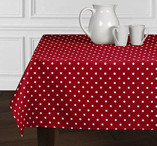Ein luxehome Rot und weiß Modernes Polka Dot Tischdecken Esszimmer Küche Rechteck länglichen 152,4x 259,1cm (Tischdecke Polka Rot Dot)