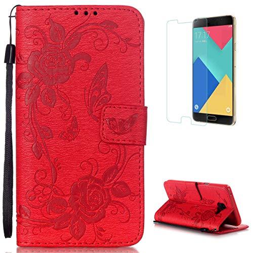 CaseHome for Samsung Galaxy A5 2016/A510F Custodia PU Libro Foglio Flip Magnetico Chiusura Premio Pelle Sintetica Full Body Protettivo Portafoglio Caso Copertina Pelle Conchiglia-Rosso #2