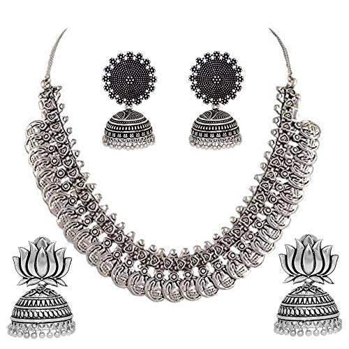 Jhumka Jhumki Earring with Necklace for Women and Girls and Traditional Jewellery Combo Set(Two Earrings Pair and One Necklace)