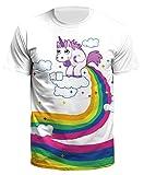 Ocean Plus Herren Casual Aufdruck Tee Shirt Motiv Tierdruck Galaxis Halloween Schädel Top Streetwear (L (Tag XL), Rollenpapier Einhorn)
