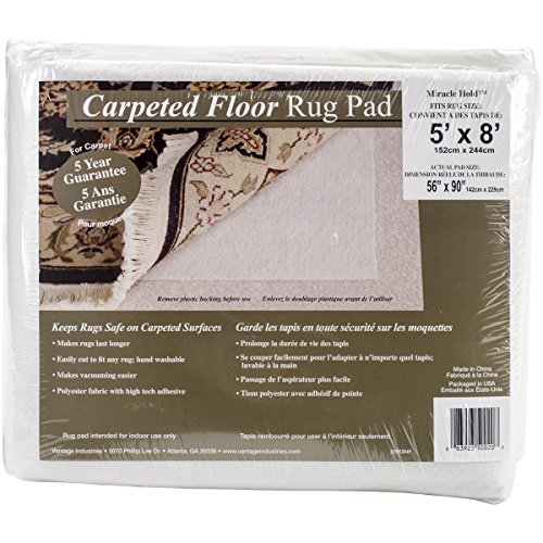 Vantage Industries Miracle Halt Teppichboden Teppich Pad, Plastik, beige, 5' x 8' - Teppich-pad, 5 8 X