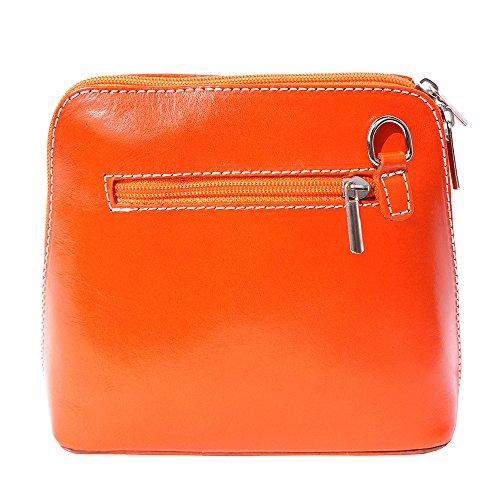 Mini Umhängetasche Dalida für Damen aus poliertem Leder Handtasche klein aus Italien Ledertasche Abendtasche Partytasche Freizeittasche Orange