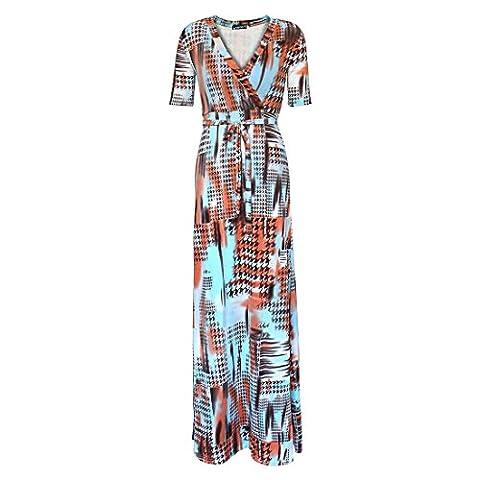 Bijoux Rarity Femme d'été col en V Wrap Maxi robe longue élégante Robe de soirée Boho Beach Club fête décontractée Robe moyen J074