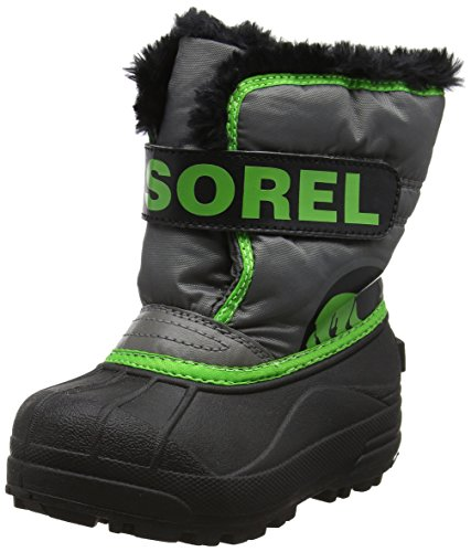 Sorel Childrens Snow Commander Unisex-Kinder Schneestiefel, Grau (Quarry, Cyber Green), 25 EU (Sorel Pac Yoot Boot Kids)