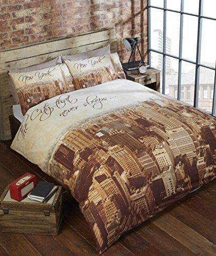 URBAN UNIQUE City New York Photographic Skyline New Quilt Duvet Cover and 2 Pillowcase Bedding Bed Set, Beige, Double