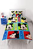 Disney Micky Maus Bright Rotary Print Bettwäsche-Set, Polyester, mehrfarbig, Single