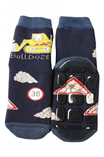 Weri Spezials Kinder Voll-ABS Socke Bulldozer Motiv in Marine Gr.31-34 (7-8 Jahre) (Jungen-marine)