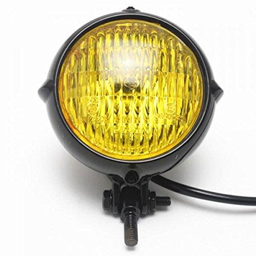 MagiDeal Motorrad Scheinwerfer Bernstein LED Licht Lampe Für Harley Bobber Chopper Gelb