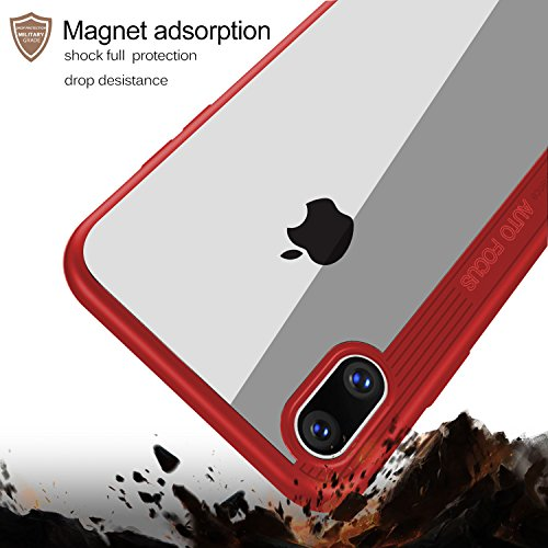 iPhone X Hülle, KuGi Spezial Hülle Soft TPU Rahmen + Hart Clear Acrylic Back Cover Transparente Gehäuse Anti-Drop Resistance Crash Protector für Apple iPhone X Smartphone (Rot) Rot