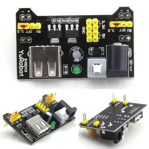 DIY Retails 3.3V and 5V Power Supply Module for MB102 Bread Board Arduino Raspberry Pi, Black  available at amazon for Rs.110