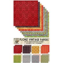 "Paper Pack (24sh 6""x6"") Damask Antique Baroque FLONZ Vintage Paper for Scrapbooking and Craft"