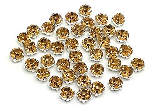EIMASS® Strasssteine, wunderschöne Qualität, klebende, flache Rückseite, Glas-Strasssteine in Silber- & Goldfassung, 100Stück, - Light Gold in Silver Casing - Größe: ss38 (8 mm)