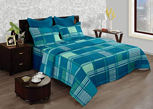 Bianca Bed in A Bag Cotton Double Bed Comforter/Bedsheet and 2 PC Pillow Covers (Turquoise/Multicolour)
