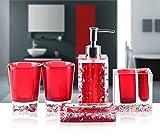 Yiyida Luxus-Acryl 5 tlg. Badezimmer Set Bad Accessoire Set WC Set ,Rot