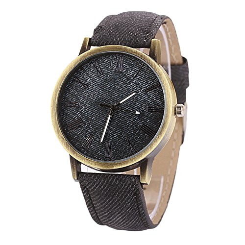 Sanwood Denim Fabric Round Analog Quartz Wrist Watch (Black)