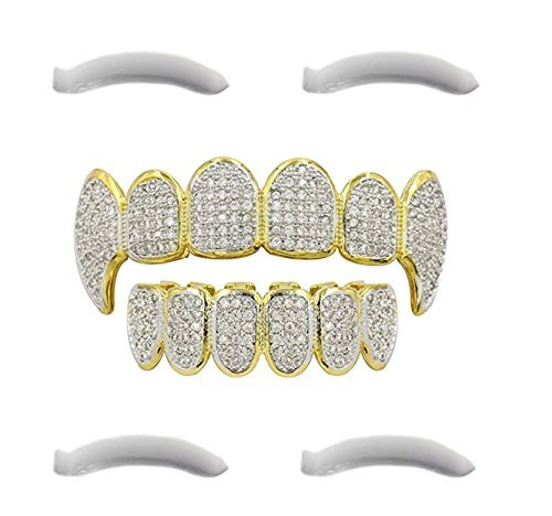 24K vergoldet Iced Out Grillz mit Micropave CZ Diamanten + 2 EXTRA Molding Bars (14k Herren Gold Overlay Kette)