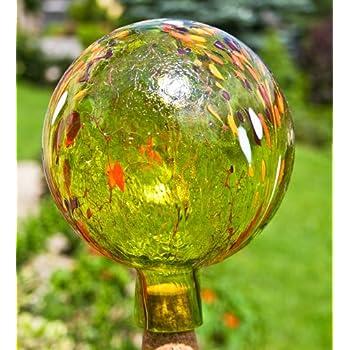 Lauschaer Glas Gartenkugel Rosenkugel aus Glas mit Granulat wei/ß d 12cm mundgeblasen handgeformt