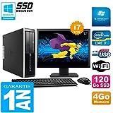 HP PC Compaq Pro 6300 SFF I7-3770 4Go 120Go SSD Graveur DVD WiFi W7 Ecran 17'