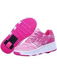 Teckey los Polea Zapatos Zapatillas de skate automática de párrafos sola ronda para niños