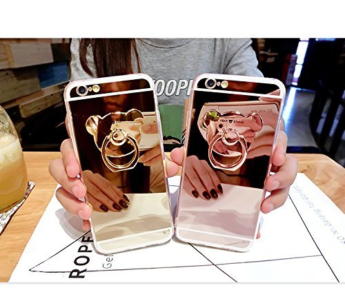 iPhone 6/6S Plus Étui Soft TPU,iPhone 6/6S Plus Case Cristal Clair,Hpory Beau élégant Luxury Ultra Thin Soft TPU Gel Silicone Cristal Clair Bling Brillant Miroir Placage Slim Fit Housse de Protection  Ours,Or