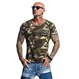 Yakuza Original Herren Basic Line Long Tail V-Neck T-Shirt - Camouflage - Gr. L