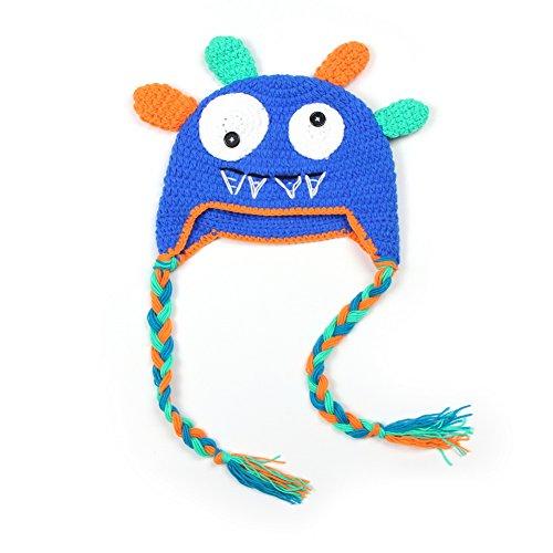 Vogholic Toddler Knit Winter Earflap Hat Monster Earmuff Skull Cap Beanie Blue Knit Hat Earflap