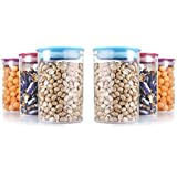 HKC HOUSE Plastic Air Resistance Kitchen Storage Container Set(Multicolour, 900ml) - Pack Of 9