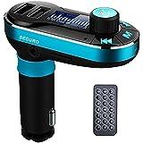 SEGURO Transmetteur FM Kit Main Libre Voiture Bluetooth Musique MP3 Player avec 3,5mm Audio Port, Lecteur de Cartes MicroSD, Écran de 1.44 Pouces Voiture Mains Libres Sans Fil Chargeur USB de Voiture