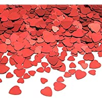 Tuparka 80g Red Heart Table Confetti PVC Red Heart Sparkle Confetti para Bodas/Día de