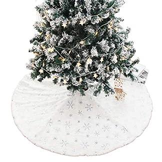 Kappha-Weier-Plsch-Weihnachtsbaum-Rock-Christbaumdecke-Rund-Wei-Weihnachtsbaumdecke-Christbaumstnder-Teppich-Decke-Weihnachtsbaum-Deko-122-cm