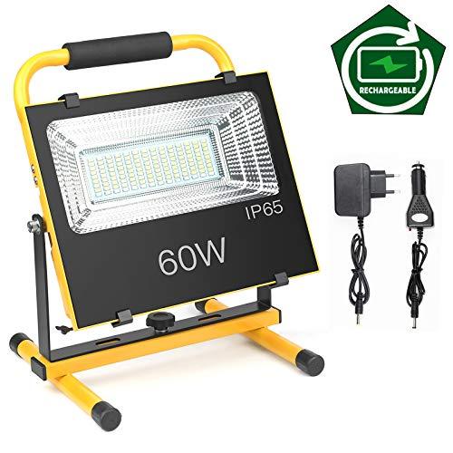 60W LED Baustrahler, IP65 Wasserdicht Fluter Werkstattlampen Strahler Flutlicht Scheinwerfer Außenstrahler für Arbeiten, Autoreparatur