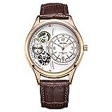 HJXJXJX Uhr Legierung Leder Uhrenarmband Hohl Wasserdicht Draussen Männer Mechanisch Armbanduhr , Gold White
