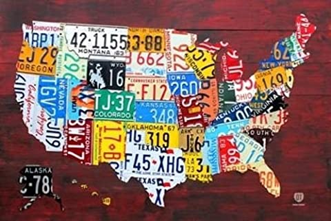 License Plate Map of the US United States Art Print Poster by Poster Service