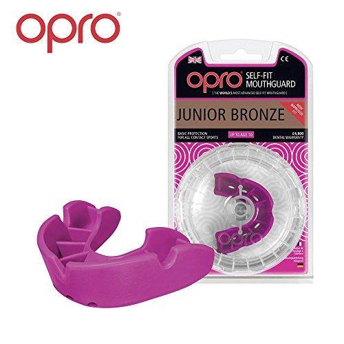 OPRO Mundschutz GEN 3 Bronze Junior - Kinder Zahnschutz für Jungen und Mädchen - selbst anformbar - für Handball, Karate, Rugby, Hockey, MMA - mit Zahnschutzgarantie bis zu einem Wert von 5.500 € - im UK entworfen & hergestellt (Rosa)