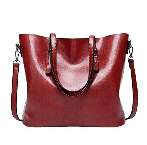 Damen Damen Pfanne Öl Wachs Leder Messenger Tasche Schultertasche Handtasche Reißverschluss Red