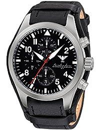 Airleader Steel Chronograph KHS.AIRSC.R Edelstahl, Lederband G-Pad, KHS Tactical Watch, Einsatzuhr, Fliegeruhr